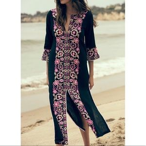 MISA Maye floral embroidered Kaftan dress